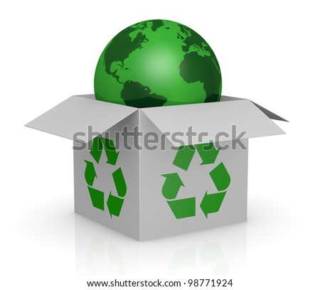 one white carton box with the recycling symbol printed on the sides and a earth globe that goes out from it (3d render)