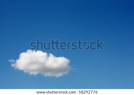 One white cloud in the blue sky