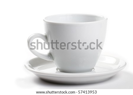 one white empty coffee cup on white background