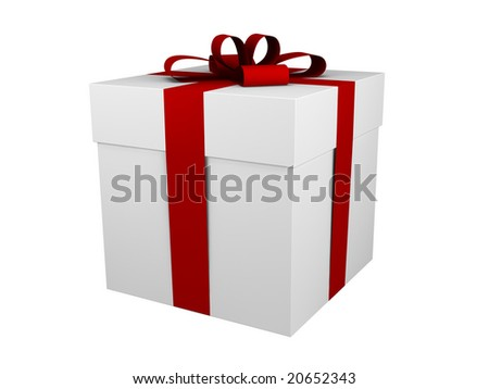 one white gift box with red ribbon and bow isolated