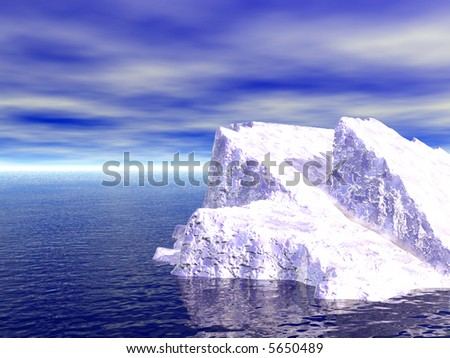 One White Iceberg. 3d illustration