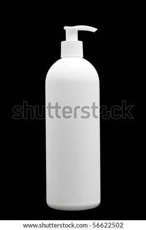 One white isolated plastic bottle with spray for cosmetics