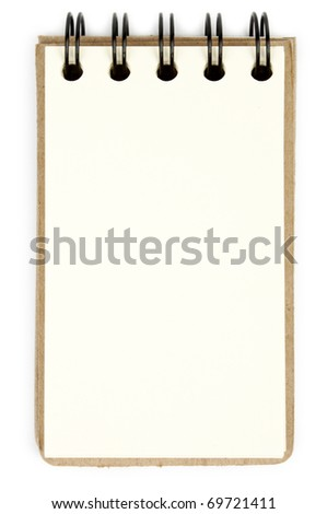One white notebook isolated on white background