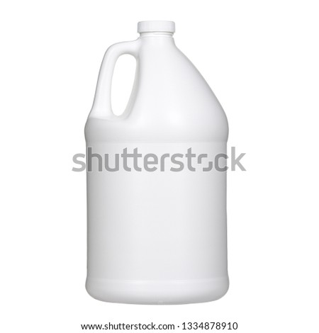 One white plastic gallon jug isolated on white background