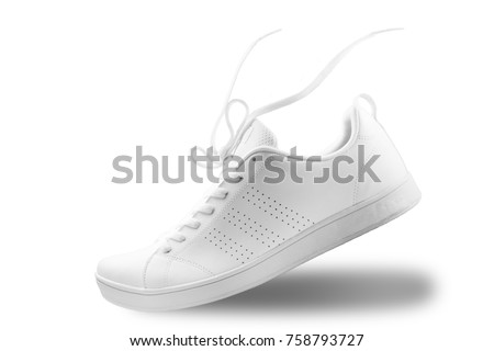One White sneaker and floating rope  isolated on white background with clipping path ストックフォト ©