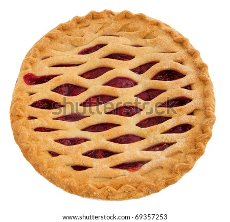 one whole cherry pie over white. top down view. - stock photo