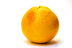 One whole fresh grapefruit on white background