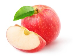 One whole red apple and a piece isolated on white background