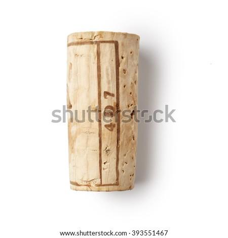 One wine cork isolated on white background