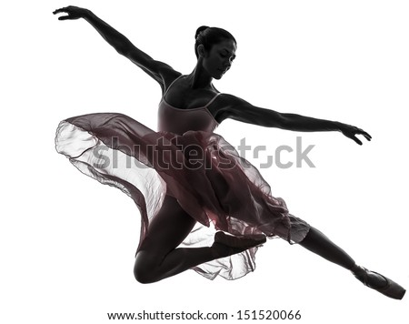 one  woman   ballerina ballet dancer dancing in silhouette on white background