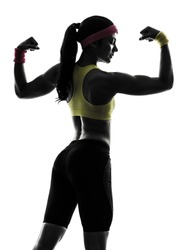 one woman exercising fitness flexing muscles rear view in silhouette on white background