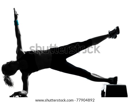 one woman exercising workout fitness aerobic exercise abdominal push ups posture on studio isolated white background