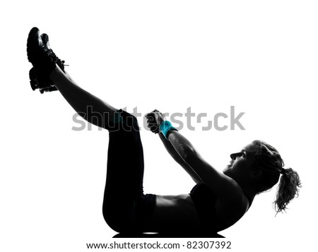 Aerobic exercise abdominals push ups posture on studio isolated white