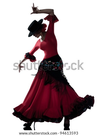 one woman gipsy flamenco dancing dancer on studio isolated white background