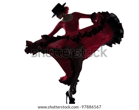 one woman gypsy flamenco dancing dancer on studio isolated white background - stock photo