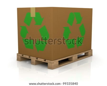 one wooden pallet with a big carton box with the recycling symbol on both sides, a concept of  transport and packaging eco sustainable (3d render)