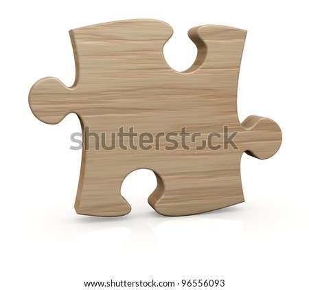 one wooden piece of a jigsaw puzzle (3d render)
