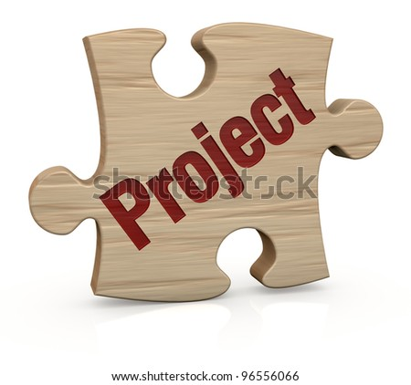 one wooden puzzle piece with the word: project (3d render)
