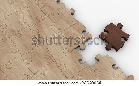 one wooden puzzle with one piece in different color. the puzzle is incomplete (3d render) - stock photo
