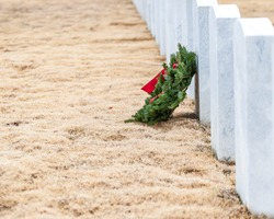 One Wreath Laying on Grave at Alabama National Cemetery in Montevallo, Alabama