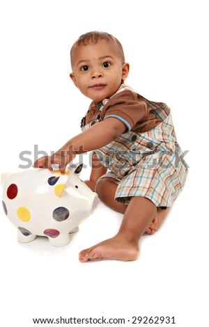 One Year Old Baby Boy Playing Piggy Bank Isolated