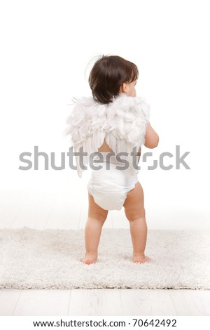 One year old baby girl in angel wing costume and diaper. Back view, isolated on white background.? - stock photo