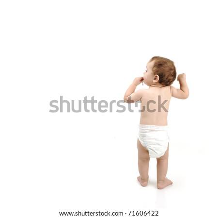 One year old baby walking isolated with large copy-space