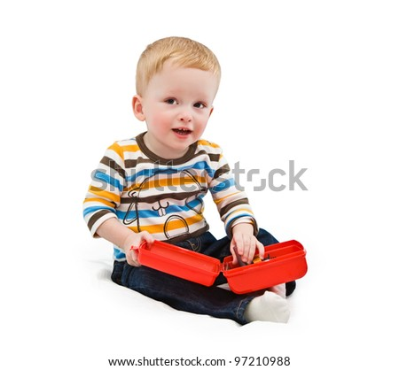 One-year-old child, building tools