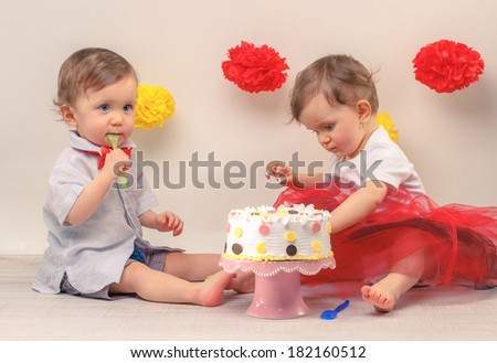 One Year Old Twins On The Birthday 182160512