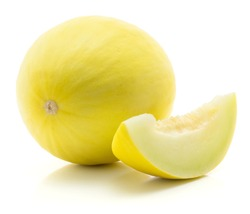 One yellow honeydew melon with a slice isolated on white background without seeds