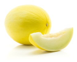 One yellow honeydew melon with separated slice isolated on white background without seeds