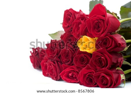 white and yellow rose bouquets. stock photo : one yellow rose