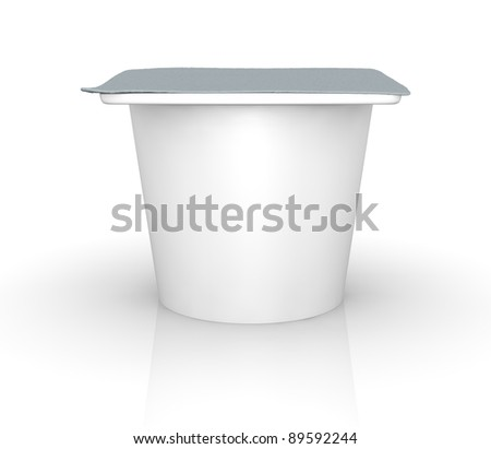 One yogurt cup with blank space for general purpose (3d render)
