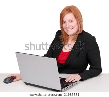 one young adult red haired business lady in black and red over white