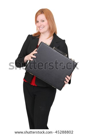 one young adult red haired business lady in black and red over white with briefcase
