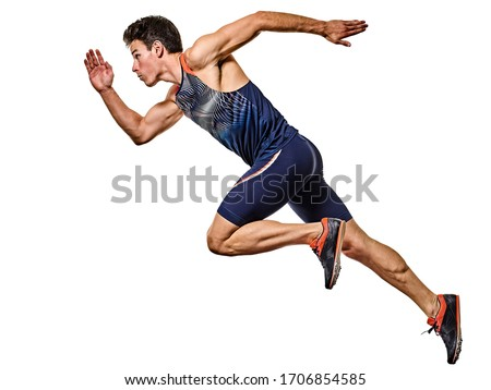 one young caucasian man practicing athletics runner running sprinter sprinting in studio isolated on white background ストックフォト ©
