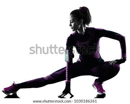 one young caucasian woman runner running jogger jogging isolated silhouette shadow on white background #1030186261