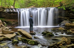 Oneida Falls is one of the waterfalls at Ricketts Glen State Park where Kitchen Creek flows down Allegheny Front in Pennsylvania.