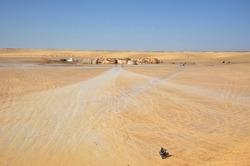 ONG JMAL, TUNISIA - OCTOBER 11, 2017: Star Wars Film Sets in the African desert Sahara. ONG JMAL, TUNISIA - OCTOBER 11, 2017.