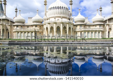 onion domes, towers and minarets forming the roof of the royal pavilion palace in brighton england, King George IV's summer house and Regency folly