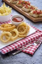 Onion rings and some side dishes