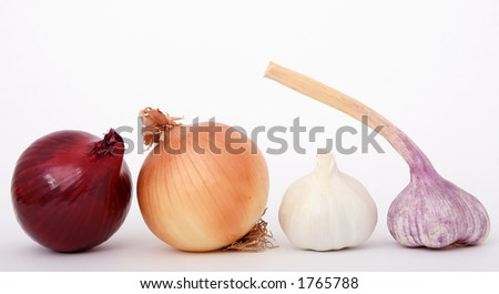 Onions and garlic isolated on white,
