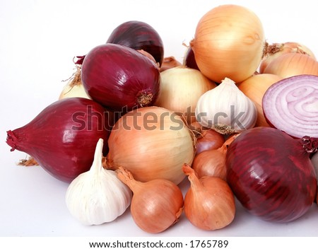 Onions and garlic, isolated on white,