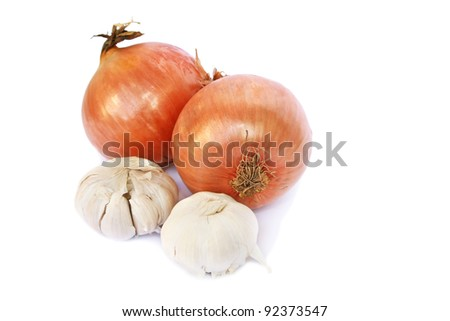 Onions and garlics isolated on white background.