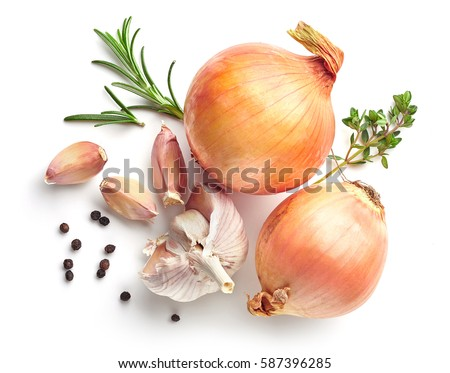 onions, garlic and spices isolated on white background, top view