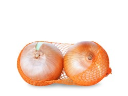 Onions in orange mesh bag isolated on white background with copy space, Plants with pungent smell and medicinal properties.
