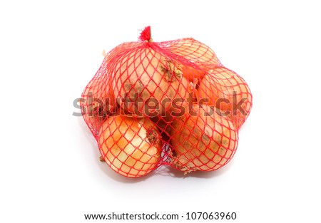 Onions isolated on white in a fishnet