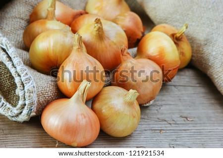 onions on a wooden board