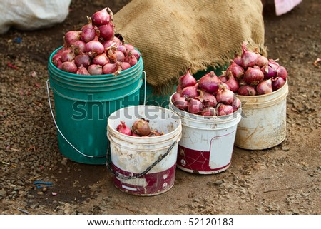 Onions  on one of traditional road markets in Tanzania