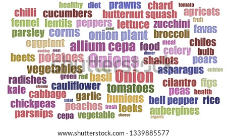 Onions Word Cloud Aligned Isolated